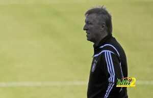 Germany's coach Horst Hrubesch (L) looks